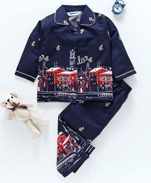 Enfance Anchors & Buildings Printed Full Sleeves Night Suit - Navy Blue