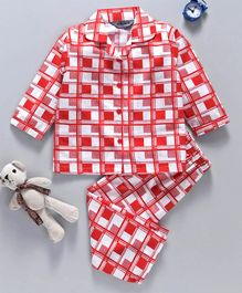 Enfance Collared Full Sleeves Printed Night Suit - Red