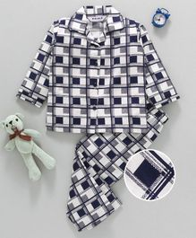 Enfance Collared Full Sleeves Printed Night Suit - Blue