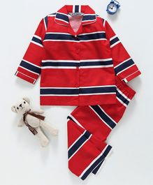 Enfance Striped Full Sleeves Night Suit - Red