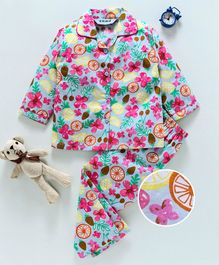 Enfance Fruits & Flower Printed Full Sleeves Night Suit - Blue & Pink