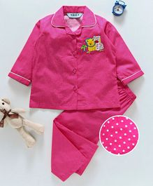 Enfance Animal Applique Full Sleeves Night Suit - Pink