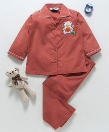 Enfance Bear Applique Full Sleeves Night Suit - Brown