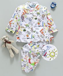 Enfance Geometric Print Full Sleeves Night Suit Set - White