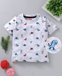Babyhug Half Sleeves Tee Dino Print - Light Grey