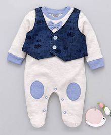 Wonderchild Bow Applique Full Sleeves Romper With Waistcoat - Blue