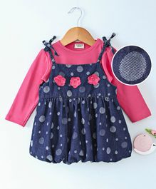 Wonderchild Flower Applique Dress With Solid Full Sleeves Tee - Pink & Blue