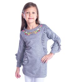 Cherry Crumble California Flower Embroidery Full Sleeves Tunic - Grey