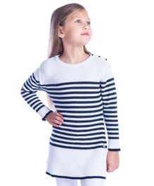 Cherry Crumble California Striped Full Sleeves Tunic - Navy & White