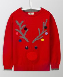 Cherry Crumble California Deer Face Design Long Sleeves Sweater - Red