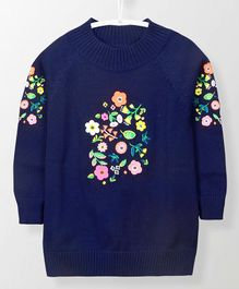 Cherry Crumble California Floral Embroidery Full Sleeves Sweater - Navy