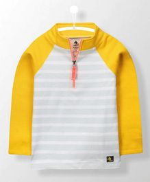 Cherry Crumble California Full Sleeves Striped Tee - Grey