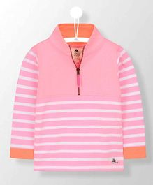 Cherry Crumble California Striped Full Sleeves Collar Neck Tee - Pink