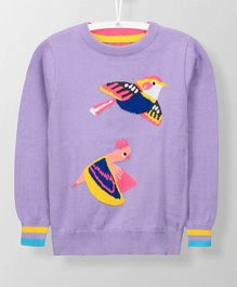 Cherry Crumble California Birds Printed Full Sleeves Sweater - Purple