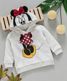 Fox Baby Full Sleeves Hooded Sweatshirt Minnie Mouse Print - Light Grey