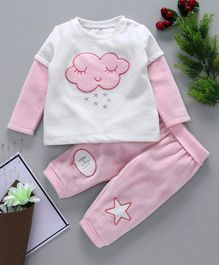 Fox Baby Full Sleeves Tee & Lounge Pant Cloud Patch - Pink