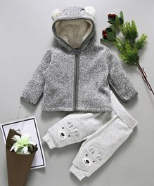 Fox Baby Full Sleeves Hooded Sweater And Lounge Pant Bear Design - Grey