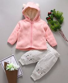 Fox Baby Full Sleeves Hooded Sweater And Lounge Pant Kitty Design - Pink Light Grey