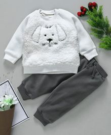 Fox Baby Winter Wear Puppy Embroidered Tee & Lounge Pant - White Grey