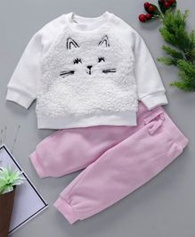 Fox Baby Winter Wear Kitten Embroidered Tee & Lounge Pant - White Pink