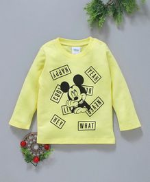 Fox Baby Full Sleeves Tee Mickey Mouse Print - Yellow