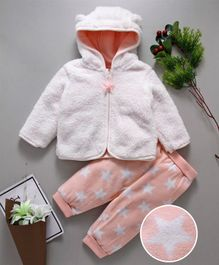 Fox Baby Full Sleeves Hooded Sweat Jacket & Star Printed Lounge Pant - White Peach