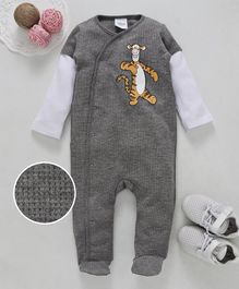 Fox Baby Doctor Sleeves Romper Tiger Print - Grey