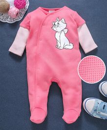 Fox Baby Doctor Sleeves Footed Romper Kitty Print - Pink