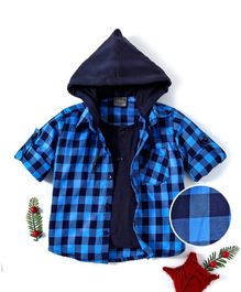 Rikidoos Checks Full Sleeves Hooded Shirt With Tee - Blue