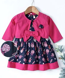 Dew Drops Flutter Sleeves Frock With Shrug - Pink Navy