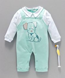 Cucumber Full Sleeves Romper Puppy Print - Green White