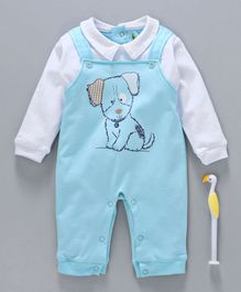Cucumber Full Sleeves Romper Puppy Print - Blue White