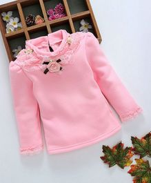 Kookie Kids Flower Applique Full Sleeves Top - Pink