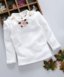 Kookie Kids Flower Applique Full Sleeves Top - White