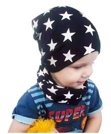 Ziory Star Printed Winter Wear Cap & Scarf Set - Black