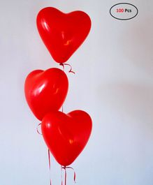 SmartCraft Heart Shaped Latex Balloons Red - Pack of 100
