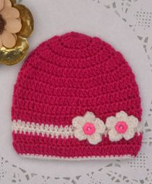Buttercup From Knitting Nani Flower Applique Woolen Cap - Magenta
