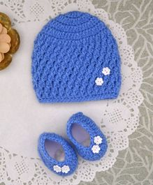 Buttercup From Knitting Nani Flower Applique Booties & Cap Set - Blue