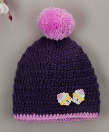 Buttercup From Knitting Nani Cupcake Applique Cap  - Purple