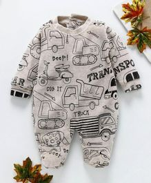 marshmallows Full Sleeves Romper Vehicle Print - Fawn