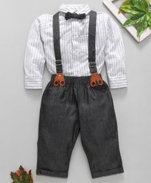 marshmallows Party Wear Full Sleeves Stripe Shirt Trouser With Suspender And Bow - White Grey