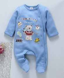 Baby Naturelle & Me Winter Wear Full Sleeves Footed Romper Bear Print - Blue