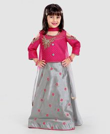 Babyhug Cold Shoulder Choli & Lehnga with Dupatta - Pink & Grey