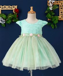 Mark & Mia Roses Applique Cap Sleeves Net Dress - Green