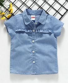 Babyhug Short Sleeves Denim Tee - Light Blue