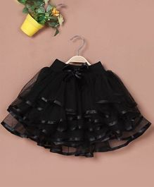 Pre Order - Awabox Bow Applique Tiered Skirt - Black