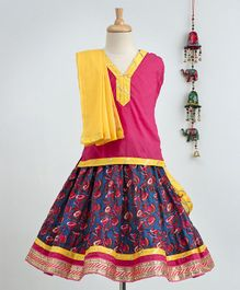 Bownbee Sleeveless Top & Flower Printed Skirt With Dupatta Set - Blue & Pink