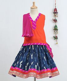 Bownbee Sleeveless Top & Jaipuri Printed Skirt With Dupatta Set - Orange & Blue