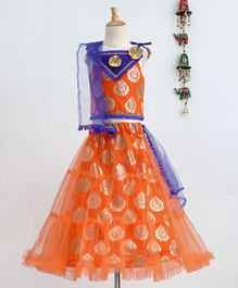 Bownbee Sleeveless Foil Printed Singlet Sleeves Choli & Lehenga  With Dupatta Set - Orange