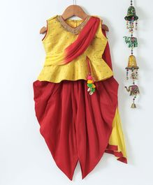 Bownbee Sleeveless Peplum Style Top With Attached Dupatta & Dhoti Set - Yellow